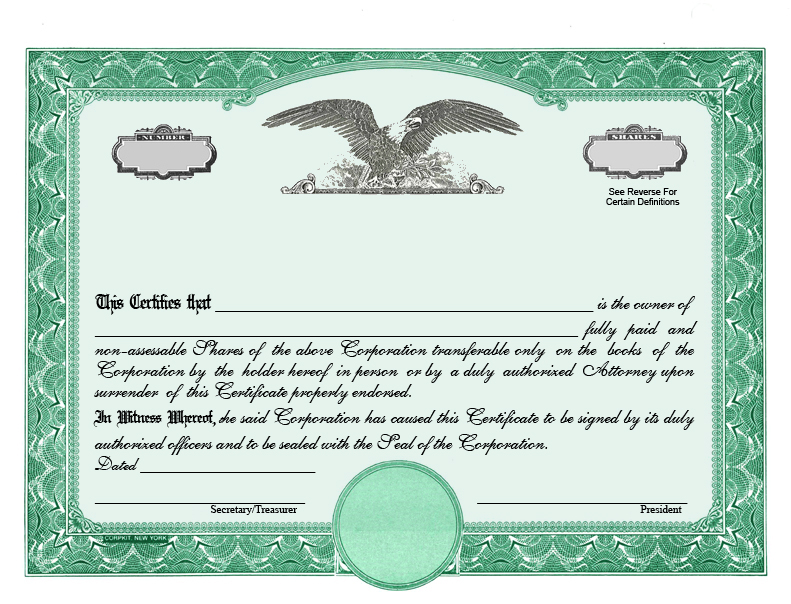 Corporate Stock Certificate Demirediffusion